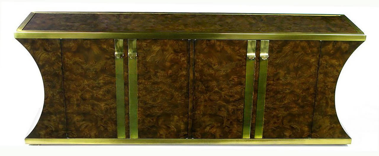 American Mastercraft Amboyna Burl and Brass Concave Curve Sideboard For Sale