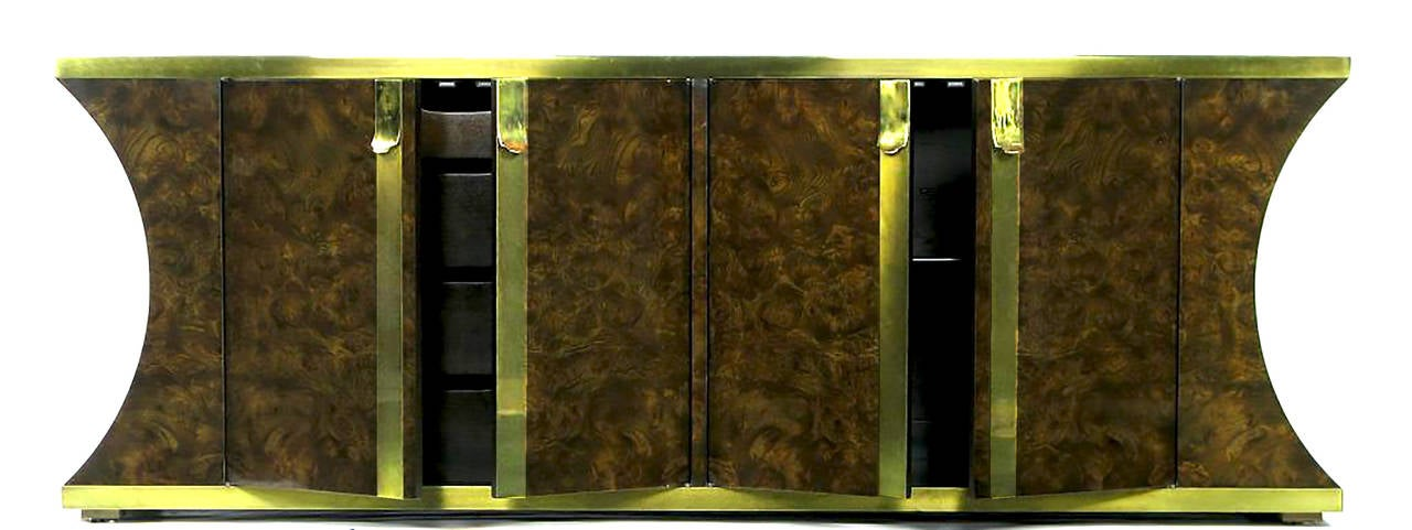 Mastercraft Amboyna Burl and Brass Concave Curve Sideboard In Good Condition For Sale In Chicago, IL
