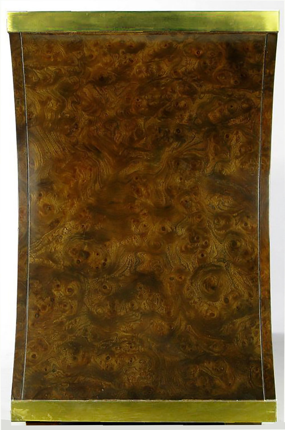 Late 20th Century Mastercraft Amboyna Burl and Brass Concave Curve Sideboard For Sale