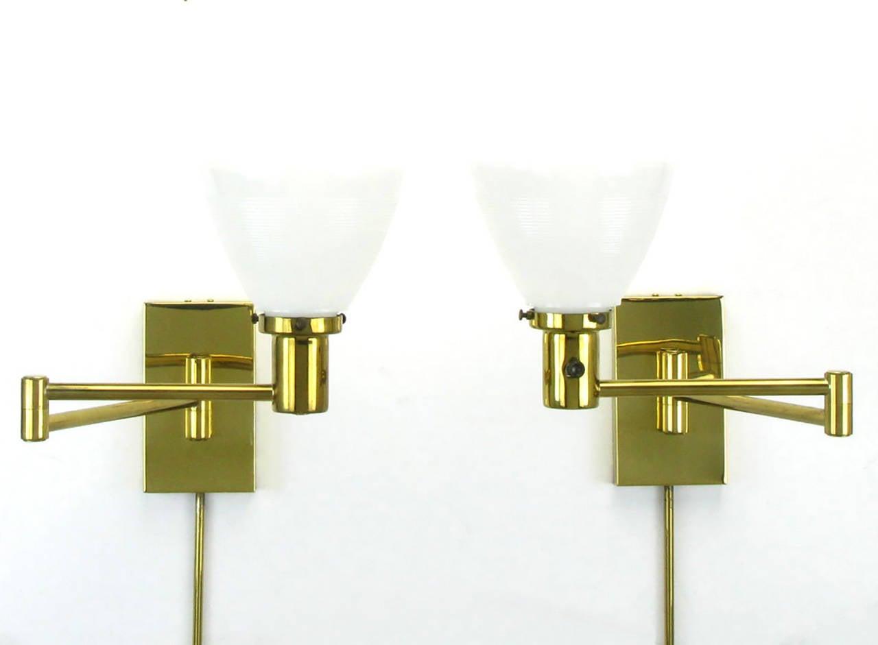 pair of walter von nessen brass swing arm wall lamps 2 brass swing arm wall lamp