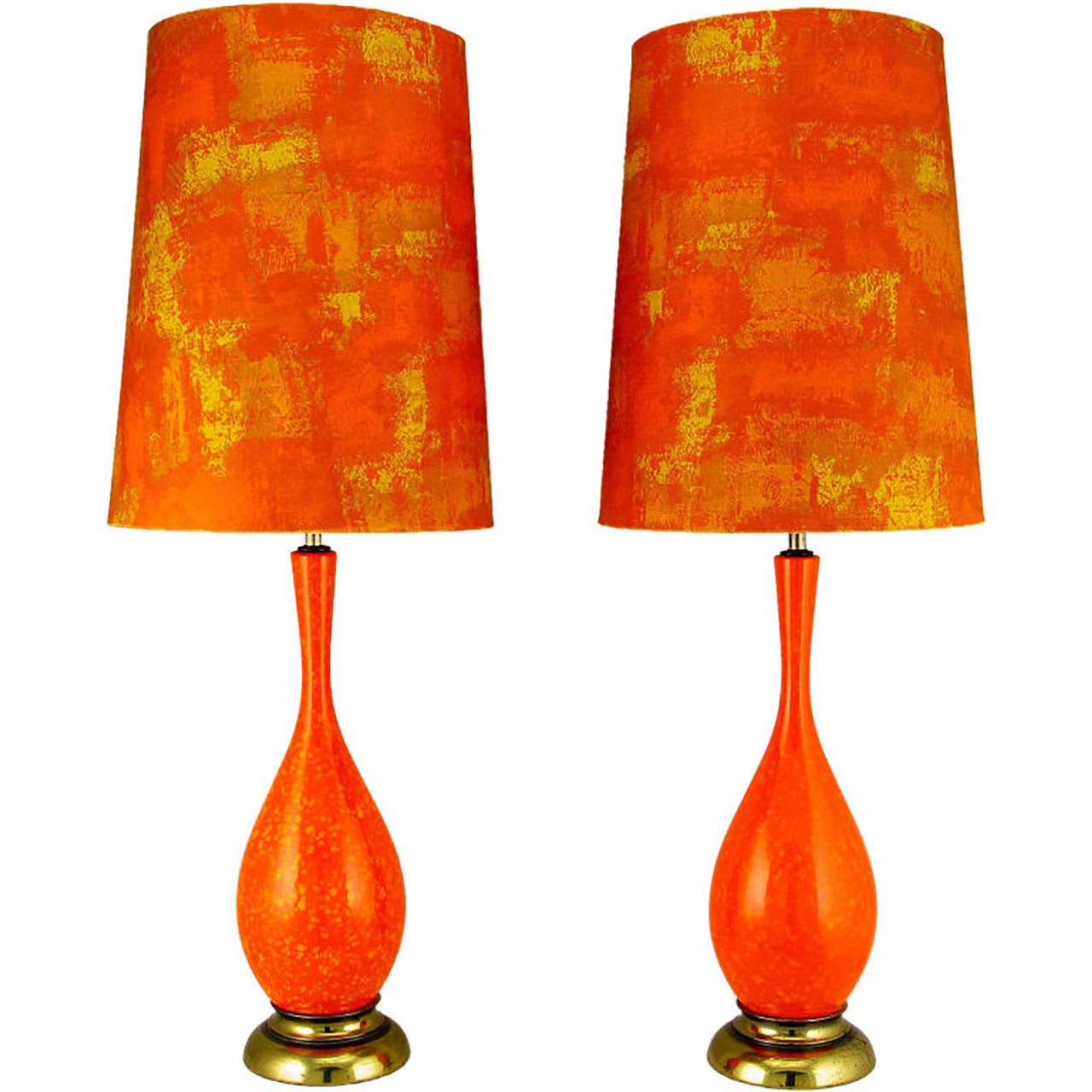 Pair of persimmon and gamboge stippled glaze table lamps with hand pair of persimmon gamboge stippled glaze table lamps with hand painted shades 1 geotapseo Gallery