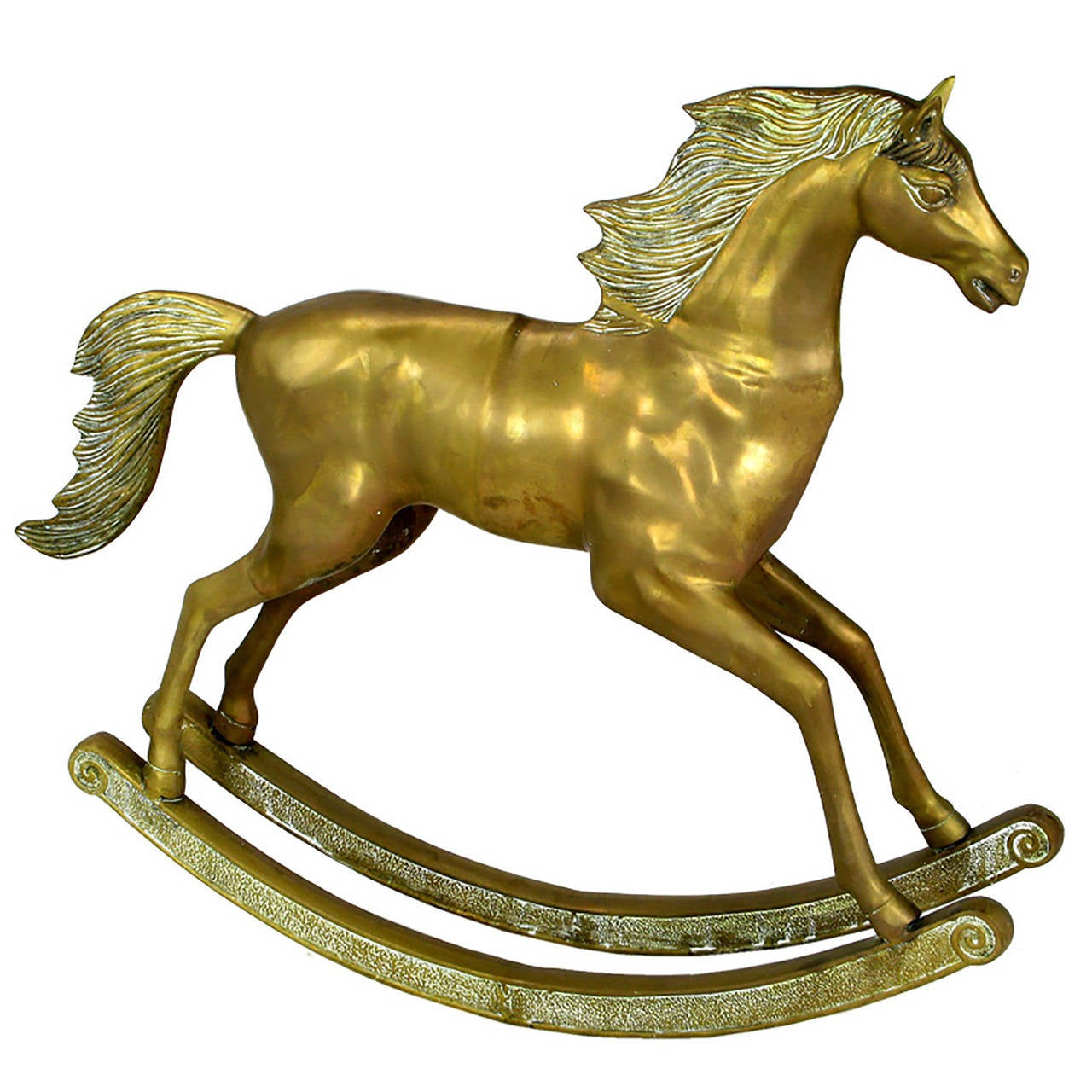 "Unusual 35"" Tall Brass Rocking Horse"