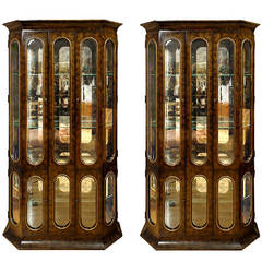 Pair of Mastercraft Burl Amboyna and Brass Vitrines with Racetrack Fenestration