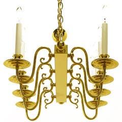 Eight-Arm Linear Brass Rectangular Chandelier
