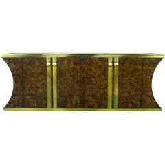 Mastercraft Amboyna Burl and Brass Concave Curve Sideboard