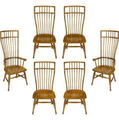 Set Six Stylized High Back Windsor Dining Chairs By Hibriten
