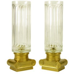Pair Ionic Column Brass & Fluted Hurricane Shade Candle Holders