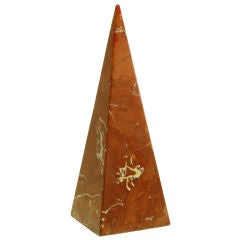 Rouge Marble Pyramid Sculpture.