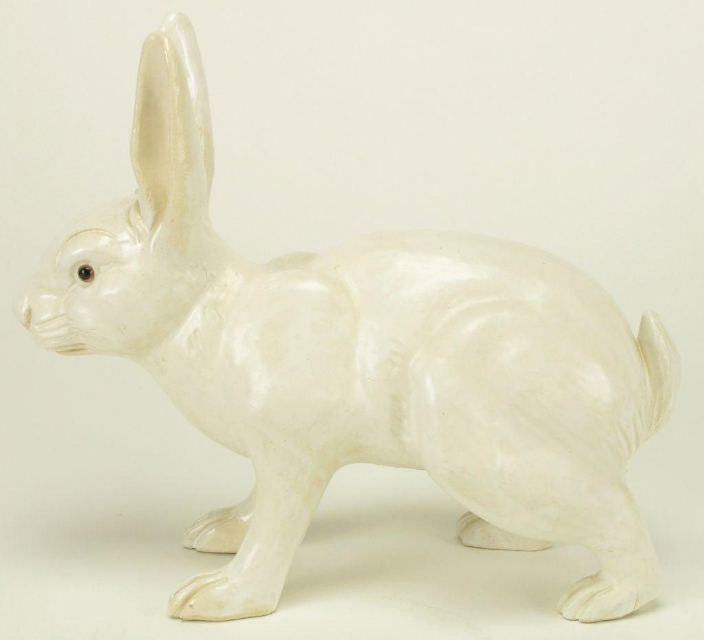 Mid-20th Century Life-Like Italian Majolica White Rabbit