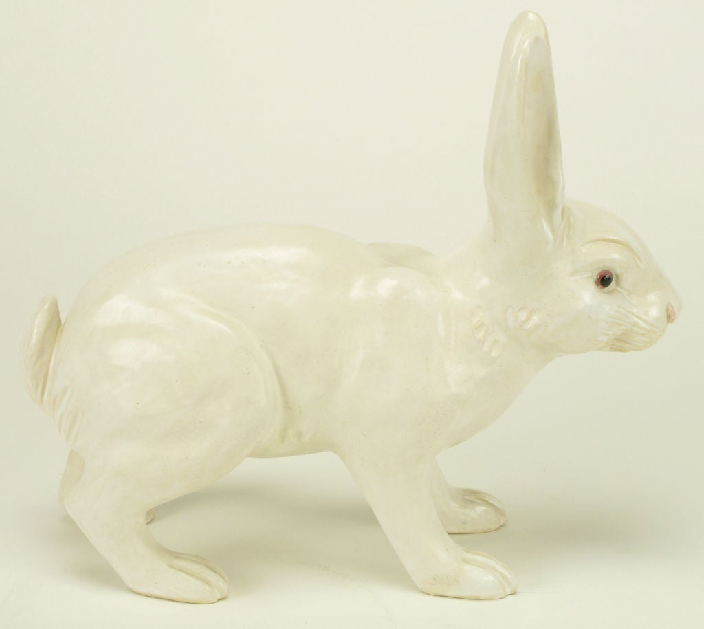 Life-Like Italian Majolica White Rabbit 3