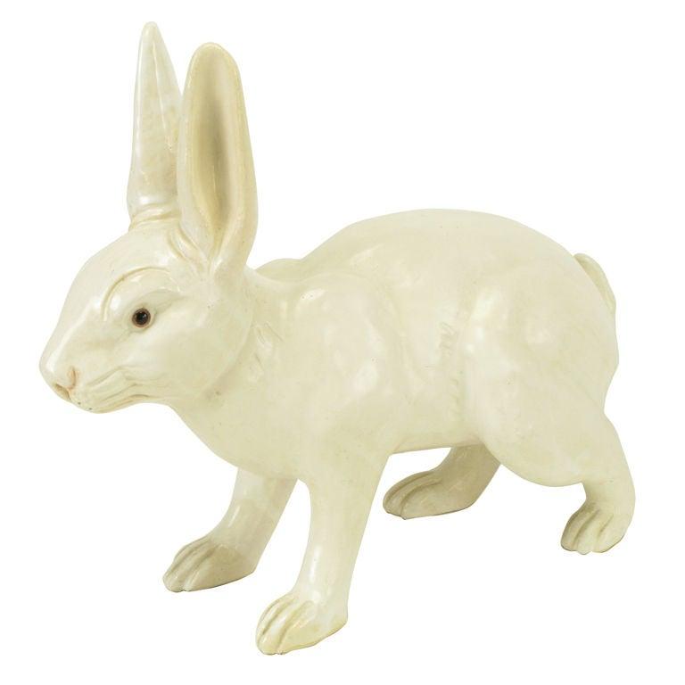 Life-Like Italian Majolica White Rabbit