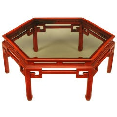 Hexagonal Cinnabar Lacquer Coffee Table With Greek Key Detail