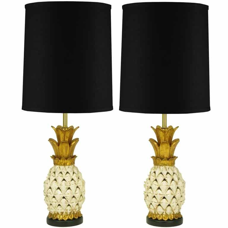 Pair parcel gilt reticulated pottery pineapple table lamps at 1stdibs pair parcel gilt reticulated pottery pineapple table lamps 1 aloadofball Choice Image