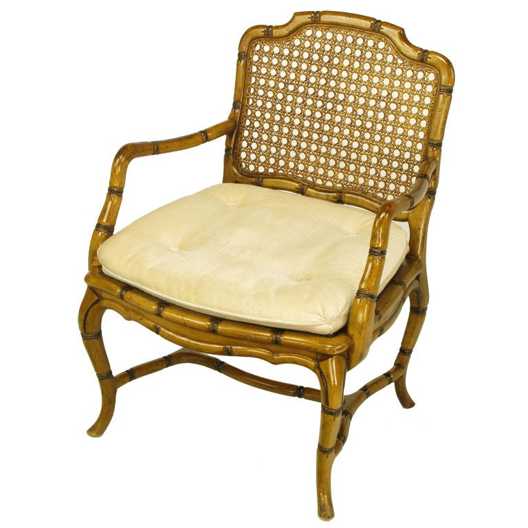 Bamboo Chair With Arms: Bamboo-Form Cabriole Leg Cane Back Arm Chair At 1stdibs
