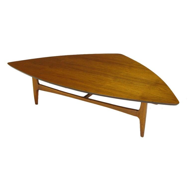 Walnut Coffee Table With Parabolic Isosceles Triangle Top