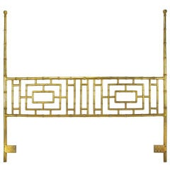Gilt Iron Chinoiserie Poster King Headboard