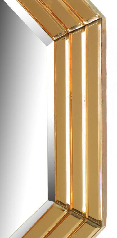 Mid-20th Century Octagonal Art Deco Peach Glazed Beveled Mirror