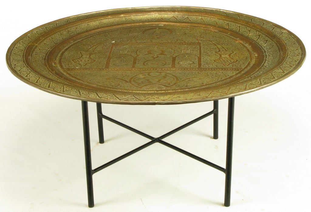 Moroccan Etched Brass Large Tray Table With Wrought Iron Base. 3