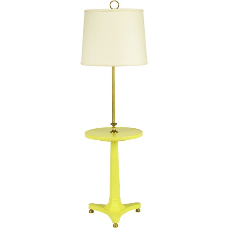 Soft yellow lacquered and brass regency floor lamp at 1stdibs for Yellow metal floor lamp