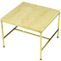 Paul McCobb Satin Brass & Travertine End Table