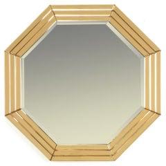 Octagonal Art Deco Peach Glazed Beveled Mirror