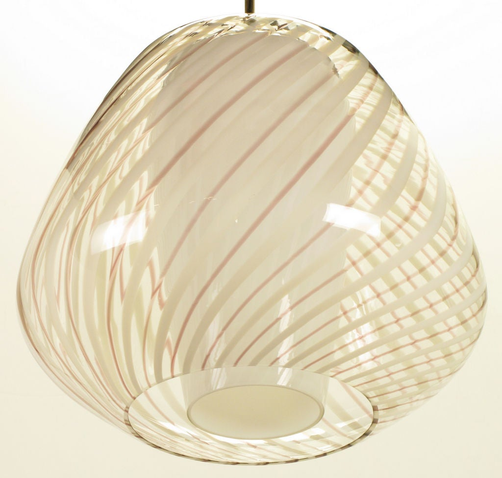 Hand blown clear glass pendant lighting : Large lightolier hand blown striped glass globe pendant