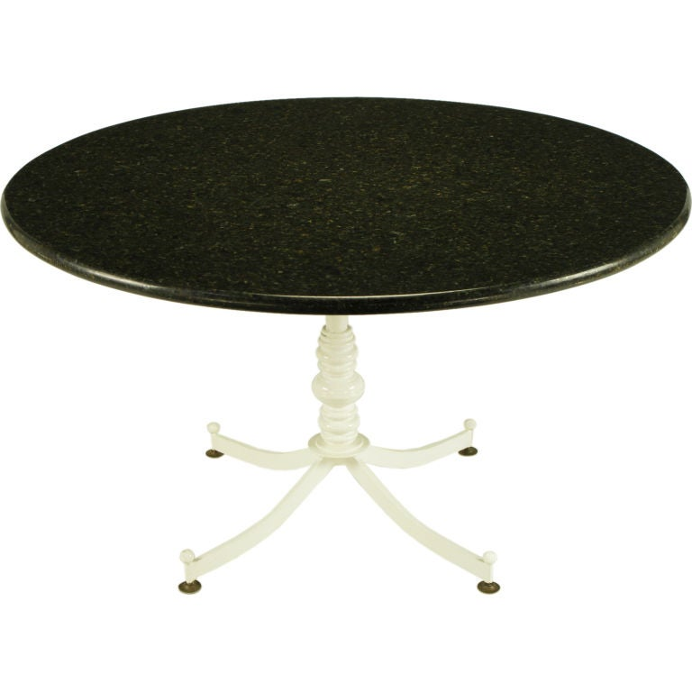 White lacquered cast metal dining table with round black - White metal dining table ...