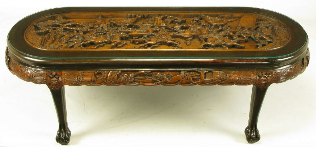 Hand Carved Battle Scene Chinese Oval Table With Six
