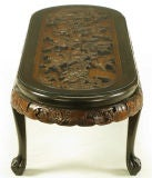 Hand Carved Battle Scene Chinese Oval Table With Six Stools image 5