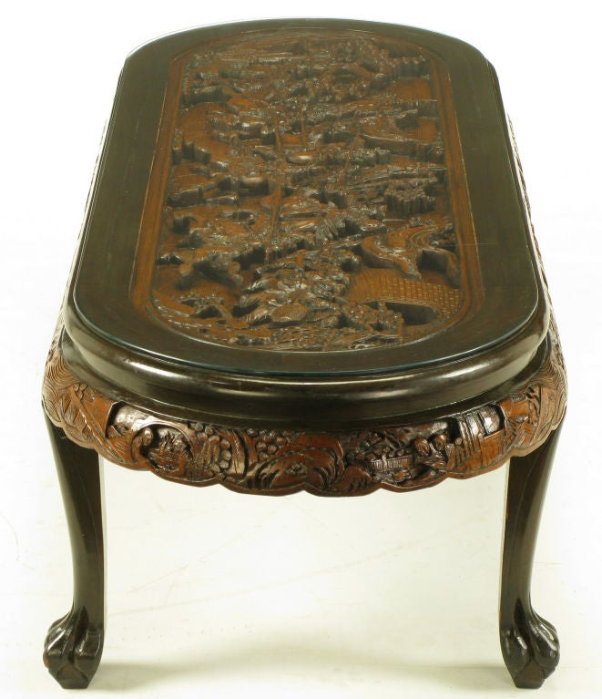 Hand Carved Battle Scene Chinese Oval Table With Six Stools 5