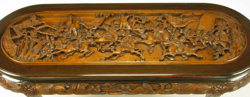 Hand Carved Battle Scene Chinese Oval Table With Six Stools 8