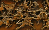 Hand Carved Battle Scene Chinese Oval Table With Six Stools image 9