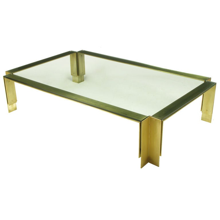 6 39 Long Post Modern Brushed Brass And Glass Coffee Table At 1stdibs