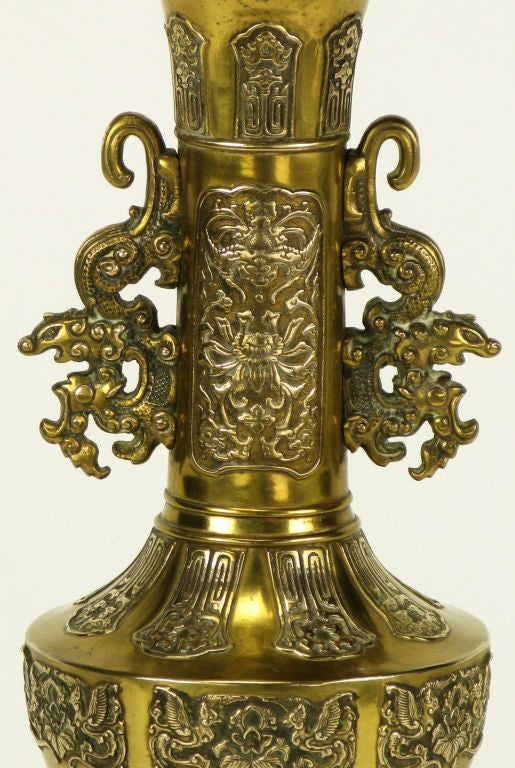 Pair Brass Chinese Footed Urn Table Lamp With Dragon