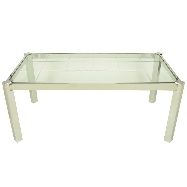 dia chrome and etched glass canted leg dining table at 1stdibs