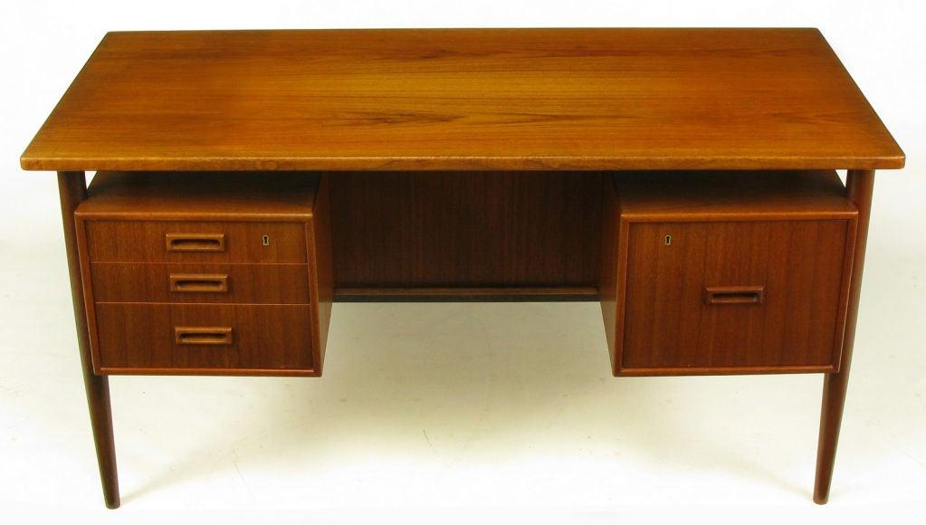 Floating Drawer danish teak wood floating drawer executive desk at 1stdibs