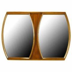 Walnut Framed Double Barrel Shaped Mirror