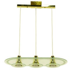 Postmodern Three Light Brass & Etched Glass Pendant Light.