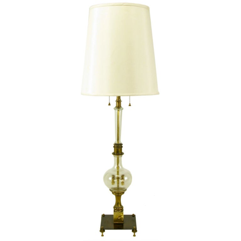 53 tall clear glass and brass mechanical table lamp at 1stdibs. Black Bedroom Furniture Sets. Home Design Ideas