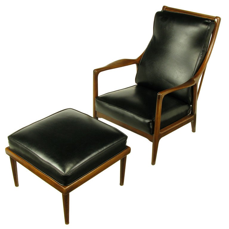 Milo Baughman Walnut and Black Vinyl Lounge Chair and Ottoman at 1stdibs