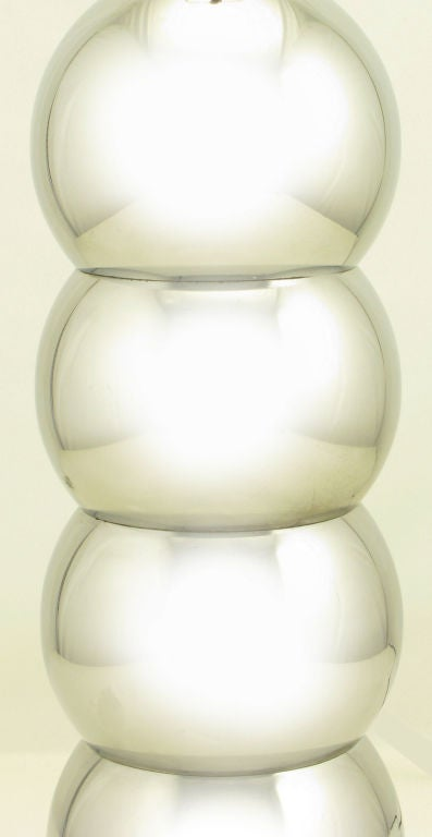 Late 20th Century George Kovacs Attr. Stacked Chrome Ball Table Lamp For Sale
