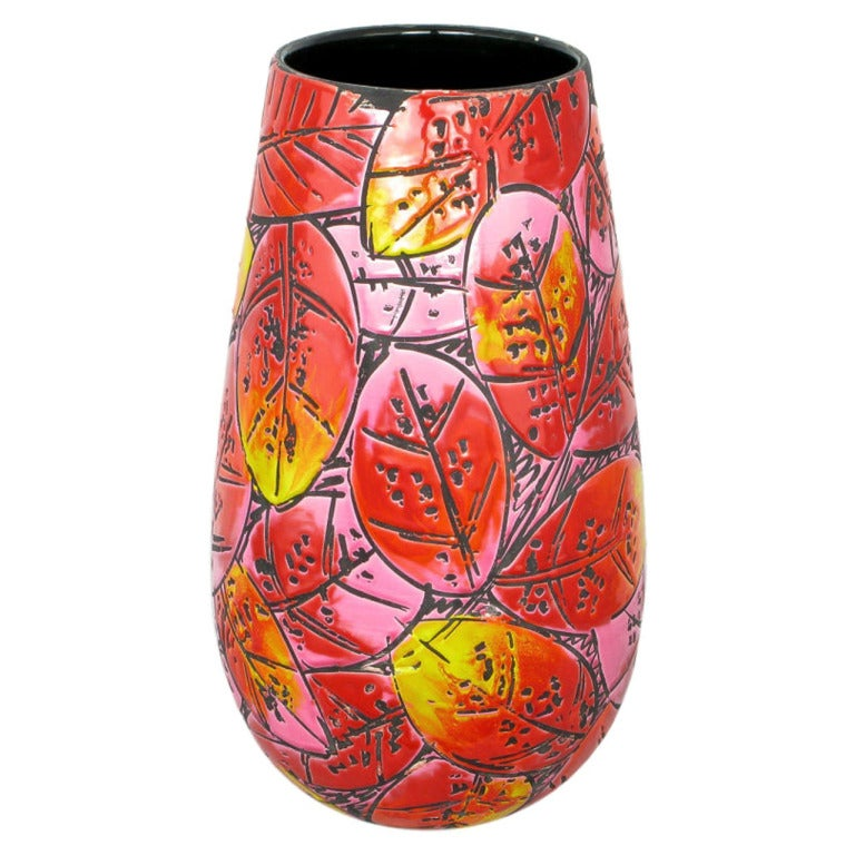 Large & Colorful Incised Pottery Vase