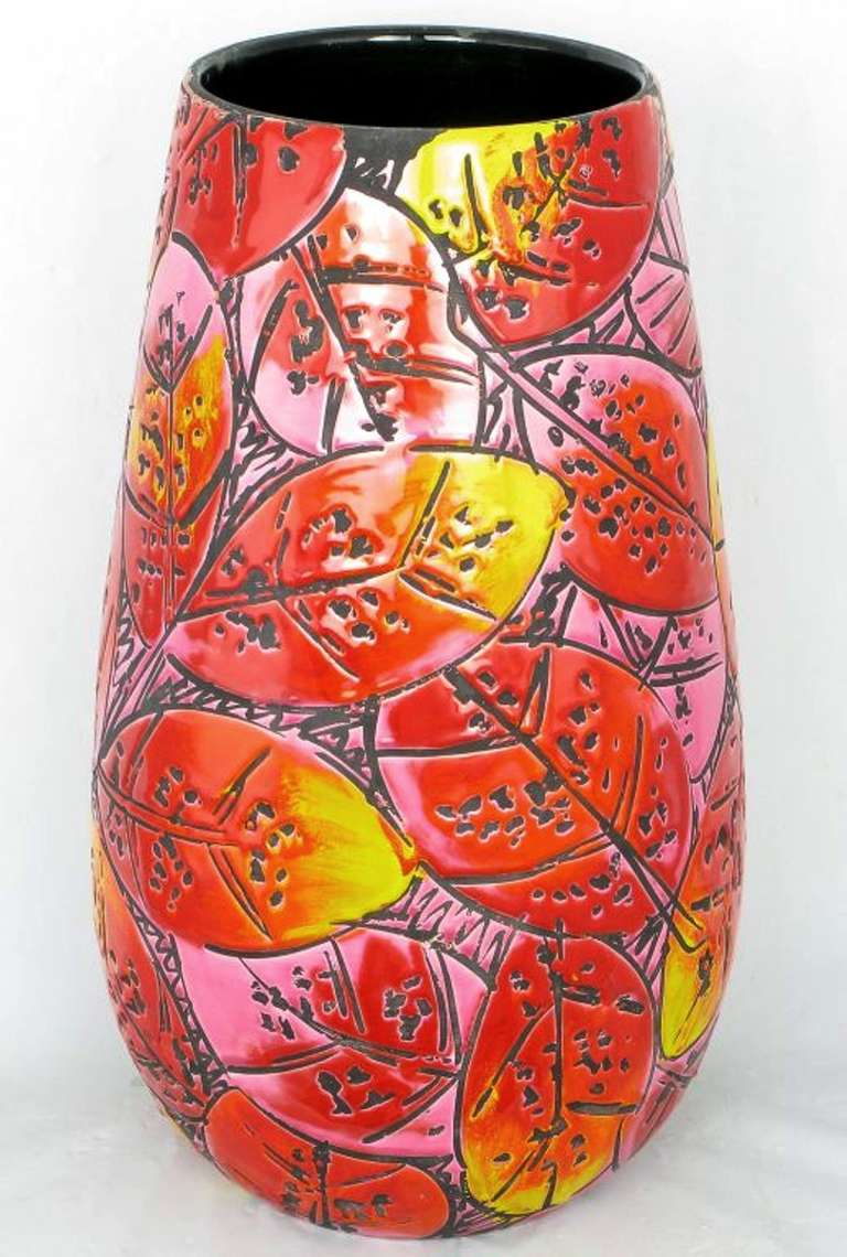German Large Colorful Incised Pottery Vase For