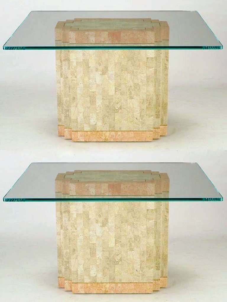 Pair Of Tesated Fossil Stone And C Art Deco Inspired Pedestal Dining Tables With Brass