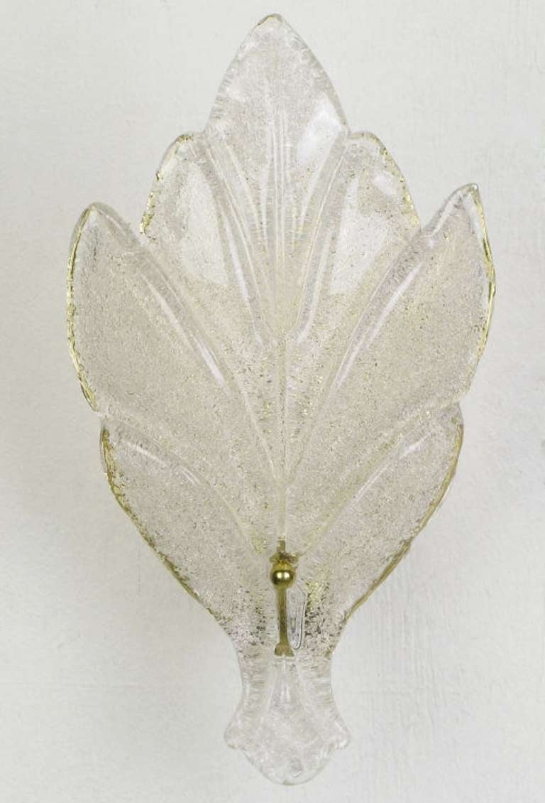 Brass Pair of Murano Glass Maple Leaf Wall Sconces For Sale
