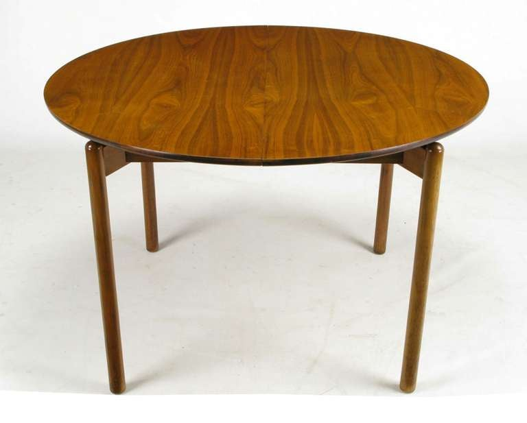 Superb Greta Grossman Round Walnut Dining Table With Canted Dowel Form Legs And A  Recessed Square Apron