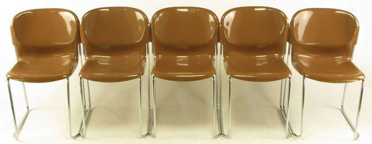 Four Gerd Lange West German Chrome SM 400 Swing Chairs In Good Condition For Sale In Chicago, IL