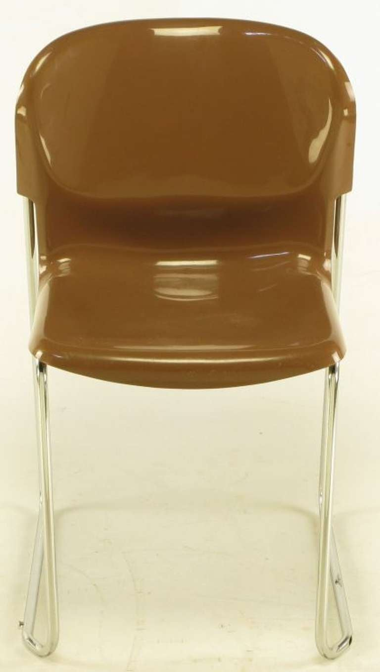 Four Gerd Lange West German Chrome Sm 400 Swing Chairs For