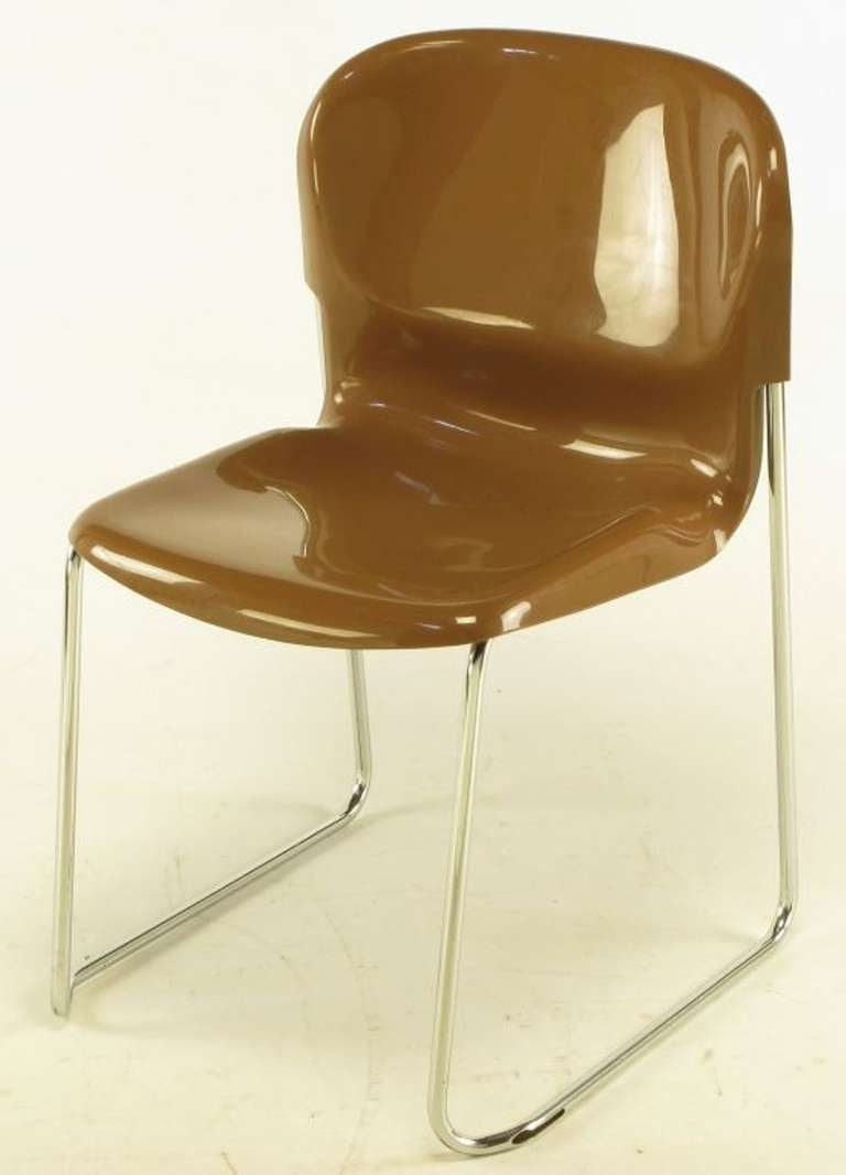 Steel Four Gerd Lange West German Chrome SM 400 Swing Chairs For Sale