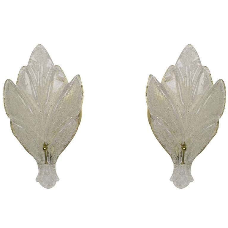 Italian Pair of Murano Glass Maple Leaf Wall Sconces For Sale